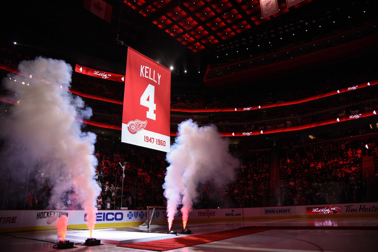 The Detroit Red Wings retire Red Kelly's No. 4