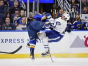 Toronto Maple Leafs Nazem Kadri leaves early with a concussion.