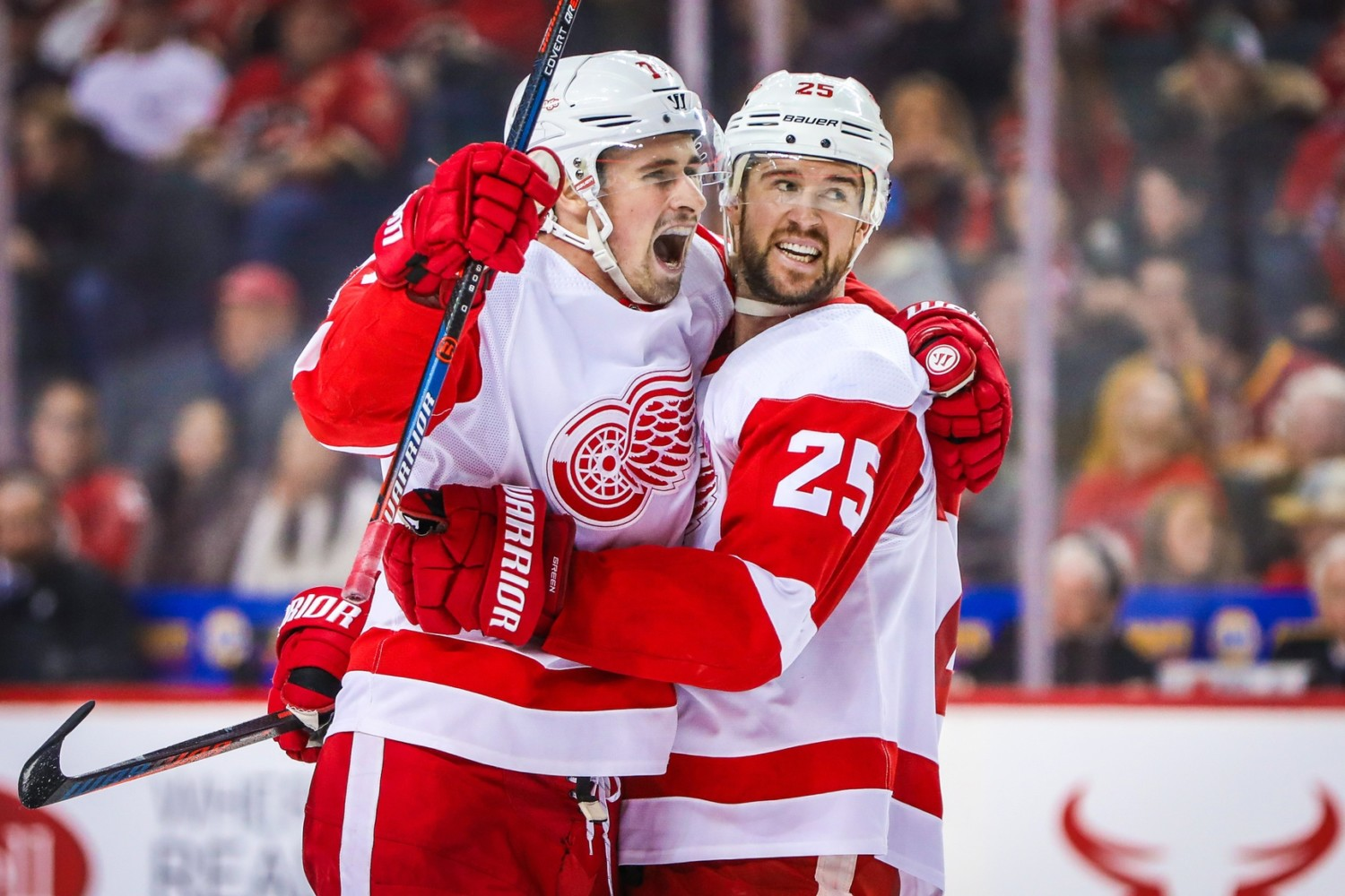 Detroit Red Wings Dylan Larkin and Mike Green