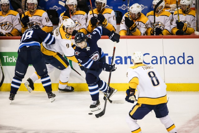 Winnipeg Jets pending free agent Jacob Trouba and GM Kevin Cheveldayoff not offering up much.