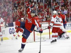 Washington Capitals T.J. Oshie out with a broken collarbone.