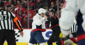 NHL video: Alex Ovechkin and Andre Svechnikov get into a scrap which leads to Svechnikov being knocked out.