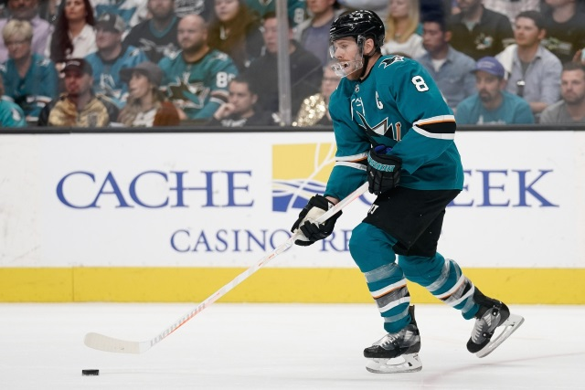 San Jose Sharks forward leaves after taking a cross check. A major was called on the play even though it shouldn't have.