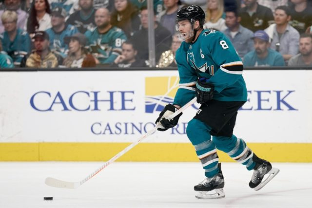 San Jose Sharks forward Joe Pavelski skating back in San Jose