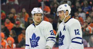 Toronto Maple Leafs Patrick Marleau and Nikita Zaitsev