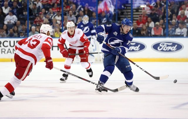 The Tampa Bay Lightning have traded restricted free agent forward Adam Erne to the Detroit Red Wings for a 2020 4th round pick.