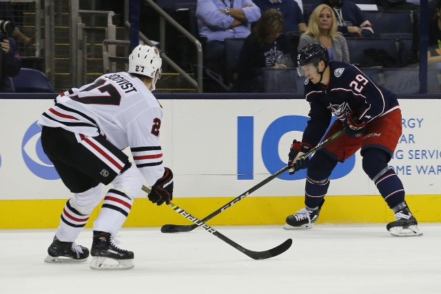 Looking at four Chicago Blackhawks prospects that might be able to crack the Blackhawks roster at some point this season.