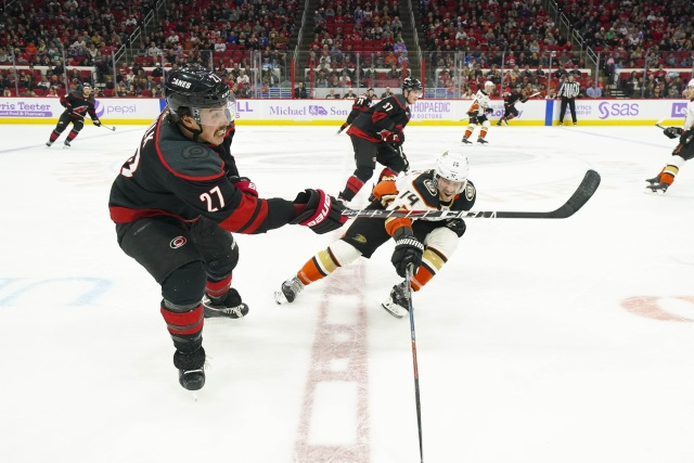 The Anaheim Ducks and Carolina Hurricanes are talking about a Justin Faulk trade.