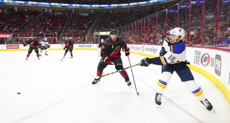 The Carolina Hurricanes have traded defenseman Justin Faulk and a 2020 5th round pick to the St. Louis Blues for defenseman Joel Edmundson, prospect Dominik Bokk and a 2021 7th round pick.