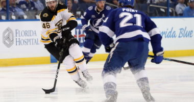 David Krejci hasn't been on the ice in a week. Brayden Point loses his no-contact jersey.