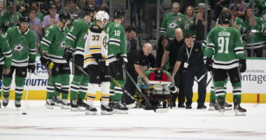 Roman Polak taken off on a stretcher.