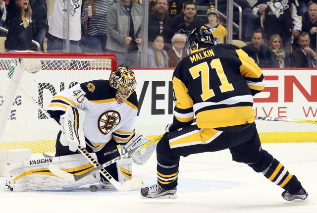 Tuukka Rask may have just had cramping. Evgeni Malkin could be out six to 10 weeks.