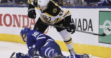 Mitch Marner will be out for at least four weeks. Torey Krug left with an upper-body injury.