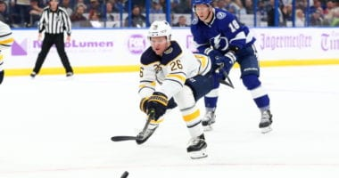 Sabres Rasmus Dahlin leaves with a concussion.
