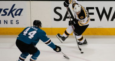 Marc-Edouard Vlasic a problem for the San Jose Sharks. The top line powering the Boston Bruins' remarkable start