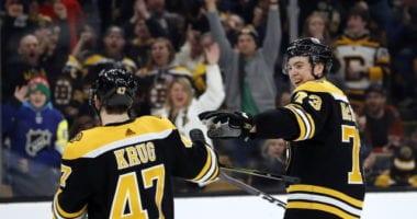 Bruins Torey Krug leaves early, Charlie McAvoy walking gingerly.