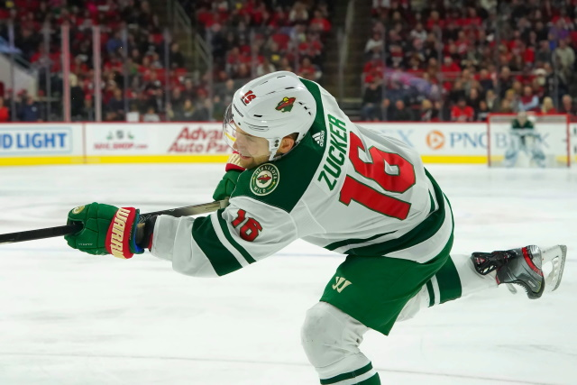 Jason Zucker is out at least a month with a fractured fibula.
