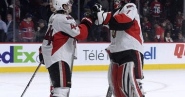 Ottawa Senators Jean-Gabriel Pageau and Craig Anderson