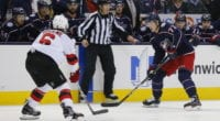 Columbus Blue Jackets Josh Anderson and New Jersey Devils Andy Greene