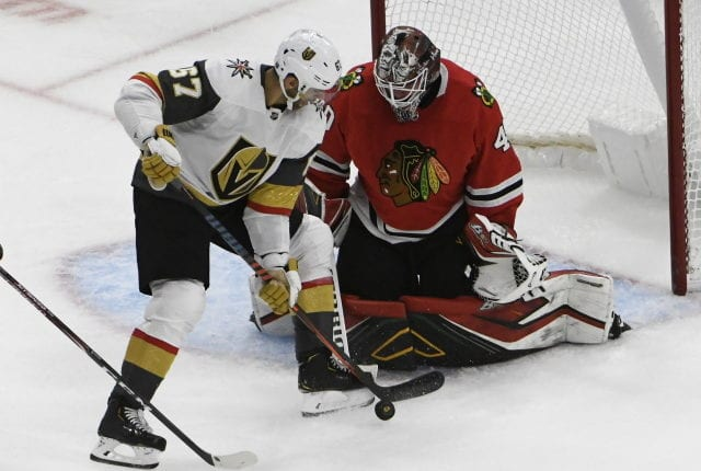 The Chicago Blackhawks haven't talked extension with Robin Lehner. The Vegas Golden Knights could use a puck-moving defenseman.