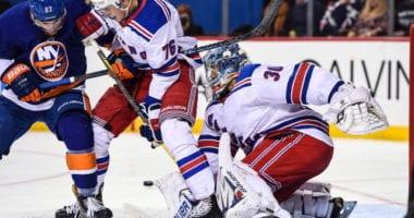 New York Rangers Henrik Lundqvist and Brady Skjei
