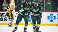 Minnesota Wild defensemen Matt Dumba and Jonas Brodin