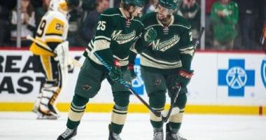 Minnesota Wild defensemen Matt Dumba and Jonas Brodin