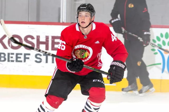 The Chicago Blackhawks and Ian Mitchell looking at their options.