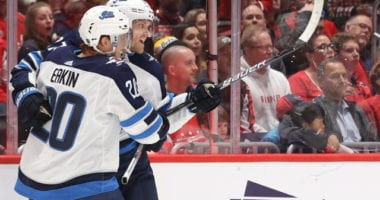 Winnipeg Jets forwards Nikolaj Ehlers and Cody Eakin