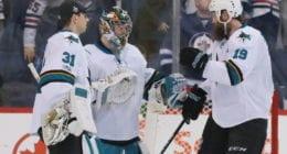 San Jose Sharks Aaron Dell, Joe Thornton, Martin Jones