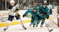 San Jose Sharks Brent Burns and Buffalo Sabres Jack Eichel
