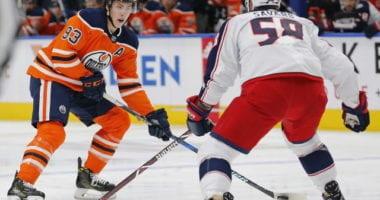 Edmonton Oilers Ryan Nugent-Hopkins and Columbus Blue Jackets David Savard