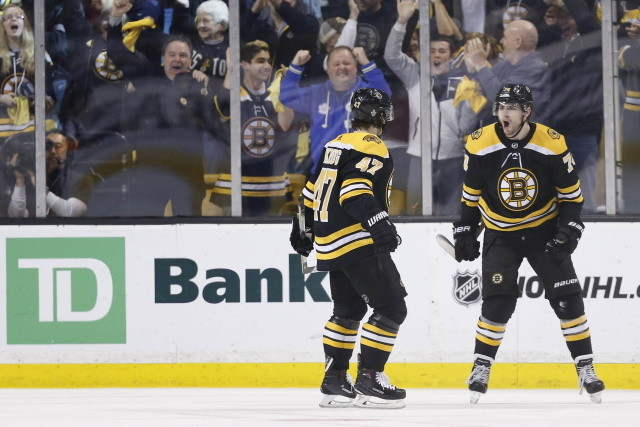 Boston Bruins pending free agents Jake DeBrusk and Torey Krug.