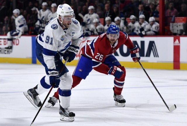 Steven Stamkos not ruled out. Jeff Petry signs a four-year extension. Flyers sign Alex Lyon. Mikko Koivu not thinking retirement yet.