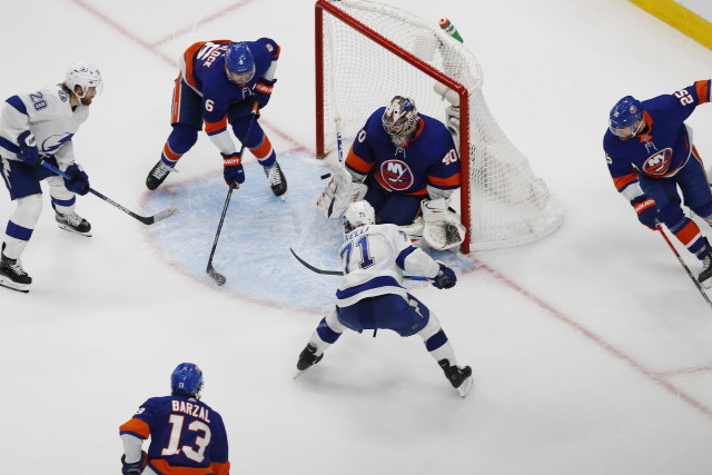 Goaltender Semyon Varlamov stopped 46 of the 48 shots on goal, but the New York Islanders offense could only put one by Tampa Bay Lightning's Andrei Vasilevskiy.