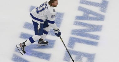 It was Steven Stamkos' first game since February 25th. He only lasted five shift and 2:47 in the first period, but remained on the bench for the rest of the game.