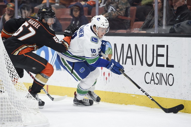 Jake Virtanen carries a $2.55 million salary cap hit but has a salary of $3.4 million next season. It's a real problem for the Vancouver Canucks as they've looked to move him.