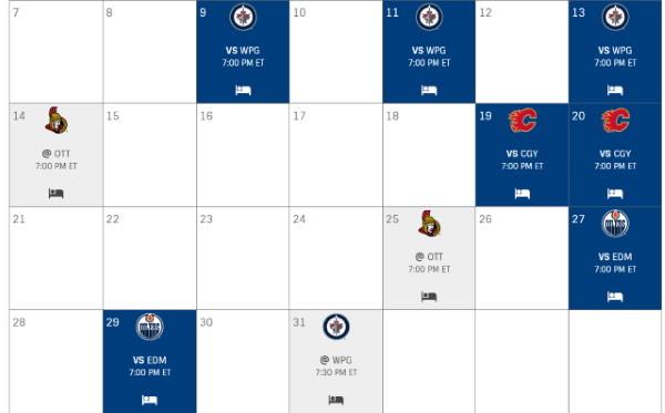 Toronto Maple Leafs March schedule