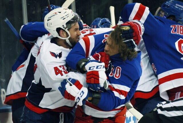 Washington Capitals Tom Wilson was fined $5,000 for roughing New York Rangers Pavel Buchnevich, nothing for roughing Artemi Panarin.