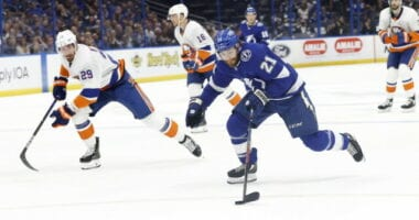The Tampa Bay Lightning beat the New York Islanders 8-0 last night. Brayden Point has scored a goal in 8 consecutive games.