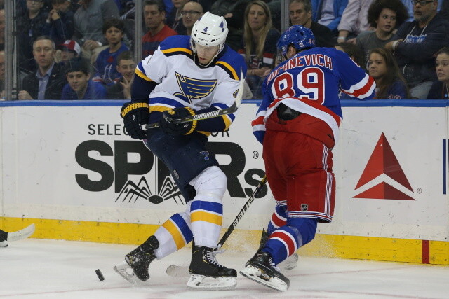 The New York Rangers have traded forward Pavel Buchnevich to the St. Louis Blues for Sammy Blais and a 2022 2nd round pick.