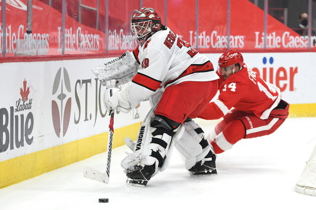 The Carolina Hurricanes have traded RFA goaltender Alex Nedeljkovic to the Detroit Red Wings for the rights to pending UFA goaltender Jonathan Bernier and a third round pick.